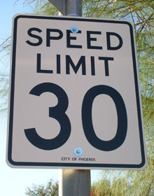 A 30-mile-per-hour speed limit sign. (Photo from beyondkm.com.)
