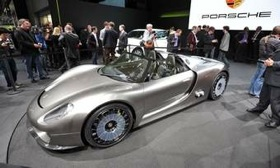 The Porsche 918 Spyder concept was revealed in Geneva. (Photo by Roger Hart.)