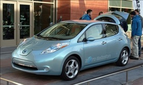 The zero-emission Nissan Leaf EV.
