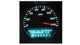A message displayed on a hacked dashboard display. (Photo from Gizmag.)