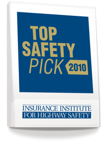 The 2010 IIHS Top Safety Pick award. (Image courtesy of the Insurance Institute for Highway Safety.) 
