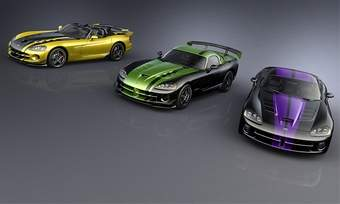Three special-edition Vipers created for select customers are shown. A new program will allow dealerships to tailor paint schemes for truly unique Vipers for a few lucky enthusiasts.(photo courtesy of Chrysler)