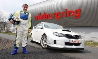 Four-time World Rally champion Tommi Mackinen piloted the STI sedan through the Green Hell in 7:55.(Photo courtesy of Subaru)