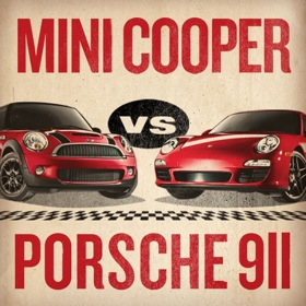 One of the MINI-versus-Porsche challenge posters, created by MINI. (Photo via MINI.)