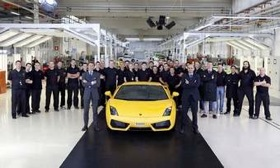 Lamborghini set a new production record with its 10,000th Gallardo. (Photo from AutoWeek.)