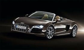 The Audi R8 spyder will get a 430-hp V8 to complement the V10. (Photo courtesy of Audi.)