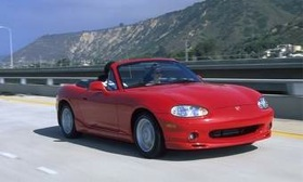 Mazda marked 20 years of its wildly popular Miata this weekend at an event in California. Shown is a 1999 model. (Photo courtesy of Mazda.)