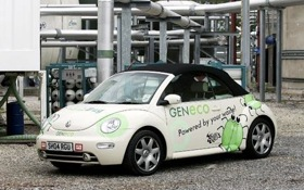 The Bio-Beetle runs on converted methane gas from sewage treatment plants. (Photo from the London Telegraph.)