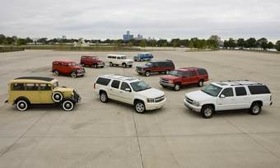 Seventy-five years of the Chevrolet Suburban (clockwise from left), 1936, 1946, 1951, 1966, 1972, 1990, 1999, 2002 and 2010 75th Anniversary Diamond Edition (center). (Photo courtesy of Chevrolet.)