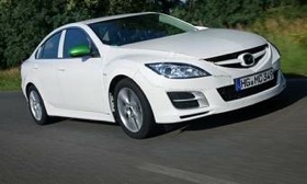 A Mazda 6 test mule with the high-compression Sky-G four-cylinder gasoline engine gets 18 percent better fuel economy than the sedan with Mazda's current four-cylinder engine. (Photo courtesy of Mazda.)