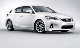 The hybrid-only Lexus CT 200h, shown, goes on sale here in the spring. It will go up against the BMW 1-series and the Audi A3 in the small-luxury niche. In the long term, Lexus plans to introduce hybrid versions of existing vehicles with each full model change to differentiate the brand from European rivals. (Photo courtesy of Lexus.)