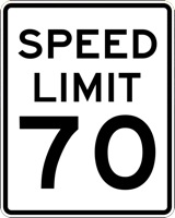 A 70-mile-per-hour speed limit sign.