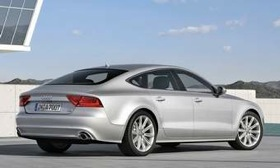 The A7, which is slightly shorter and narrower than the A8, has all-wheel drive and will be available with a V6 or V8. (Photo courtesy of Audi.)
