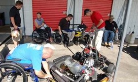 Paraplegics gather to take turns driving a go kart at CalSpeed Karting in Fontana, Calif. (Photo by Mark Vaughn.)