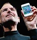 Credit: (© Paul Sakuma/AP)Caption: Apple CEO Steve Jobs holds the new iPhone 4