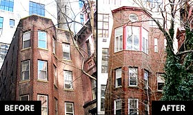 A Manhattan townhome that must have its top floor addition removed is shown before and after the sixth-floor renovation. (Polly Cleveland)