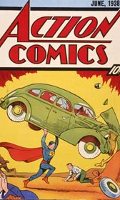 The cover of the comic book &#39;Action Comics No. 1&#39; features the first appearance of Superman. ( Hulton Archive/Getty Images)